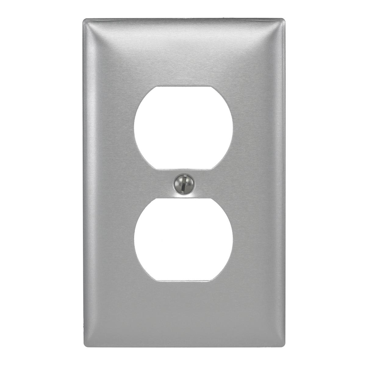 Hubbell SA8 1-Gang Aluminum 1-Duplex Receptacle Strap Mount Wallplate