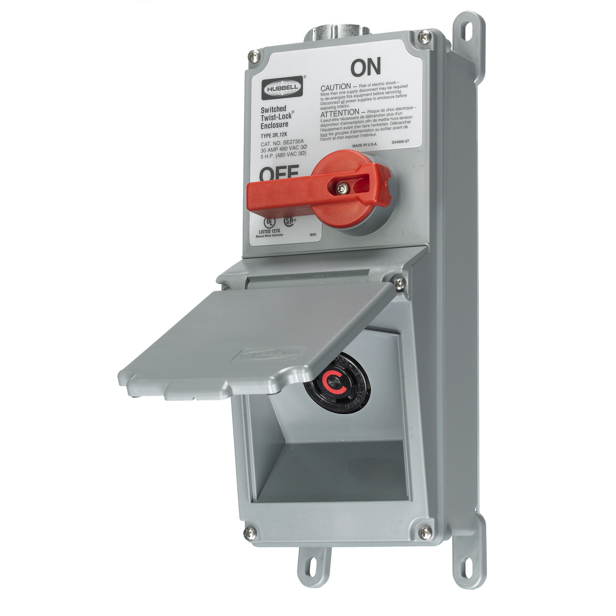 Hubbell SE2730A 30 Amp 480 Volt NEMA L16-30R Switched Enclosure with Receptacle