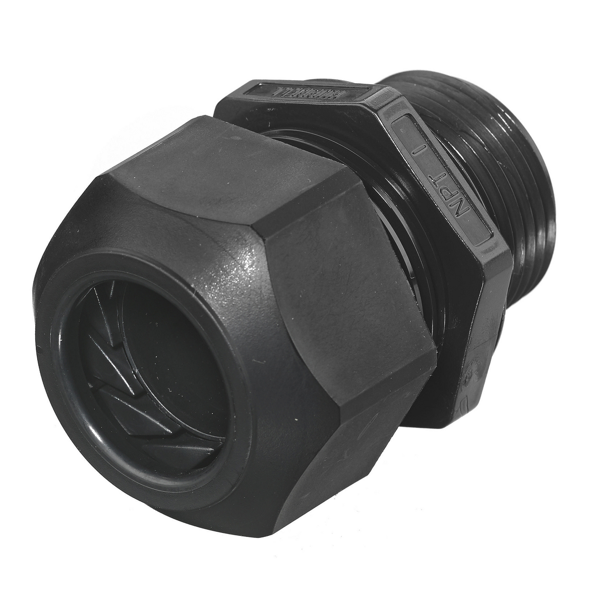 Hubbell SEC100BA 1 Inch Threaded 0.59 to 1 Inch Black Non-Metallic Low Profile Cord Connector