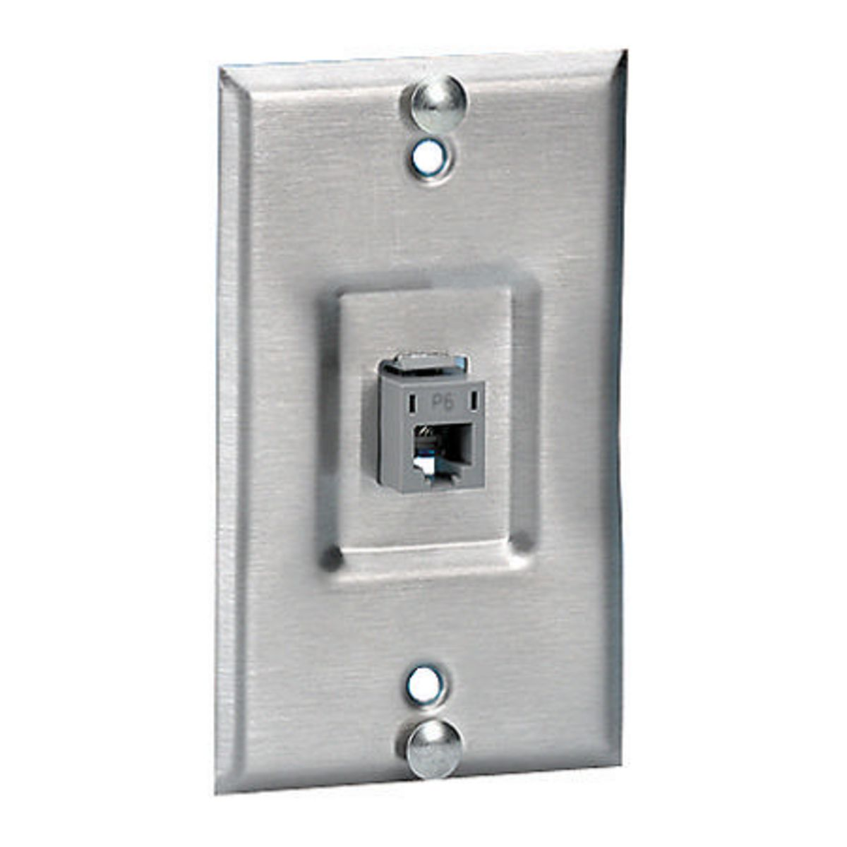 hpw SP6R HPW WALL PHONE PLATE RECESSED W/POSTS & GRAY CAT6 JACK