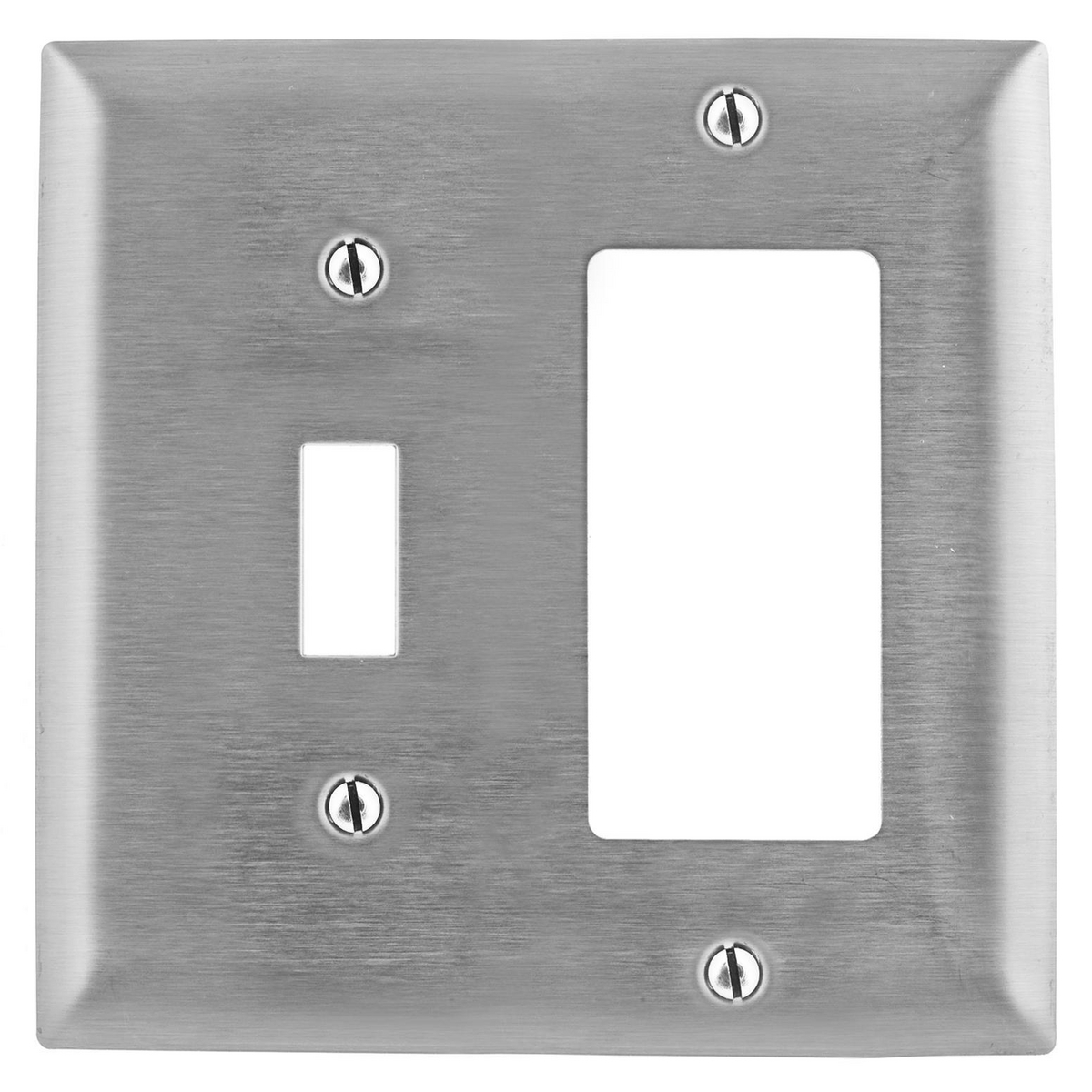 Hubbell SS126 2-Gang Stainless Steel 1-Toggle 1-Decorator Switch Screw Mount Combination Wallplate