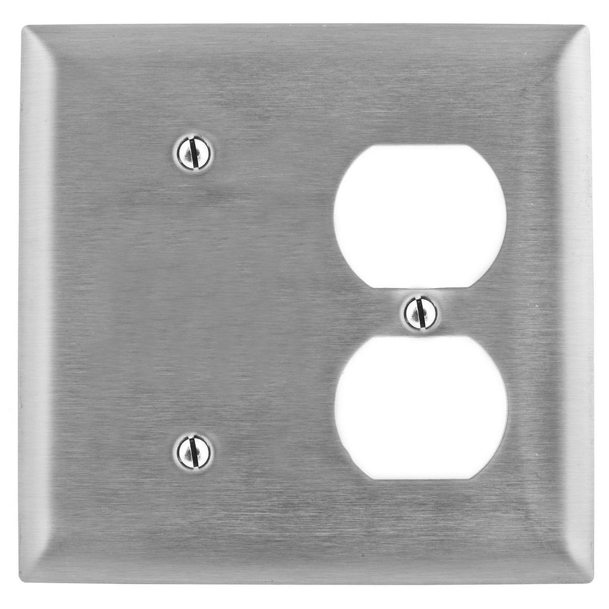 Hubbell SS138 WALLPLATE, 2-G, BLANK/DUP, SS, BOX