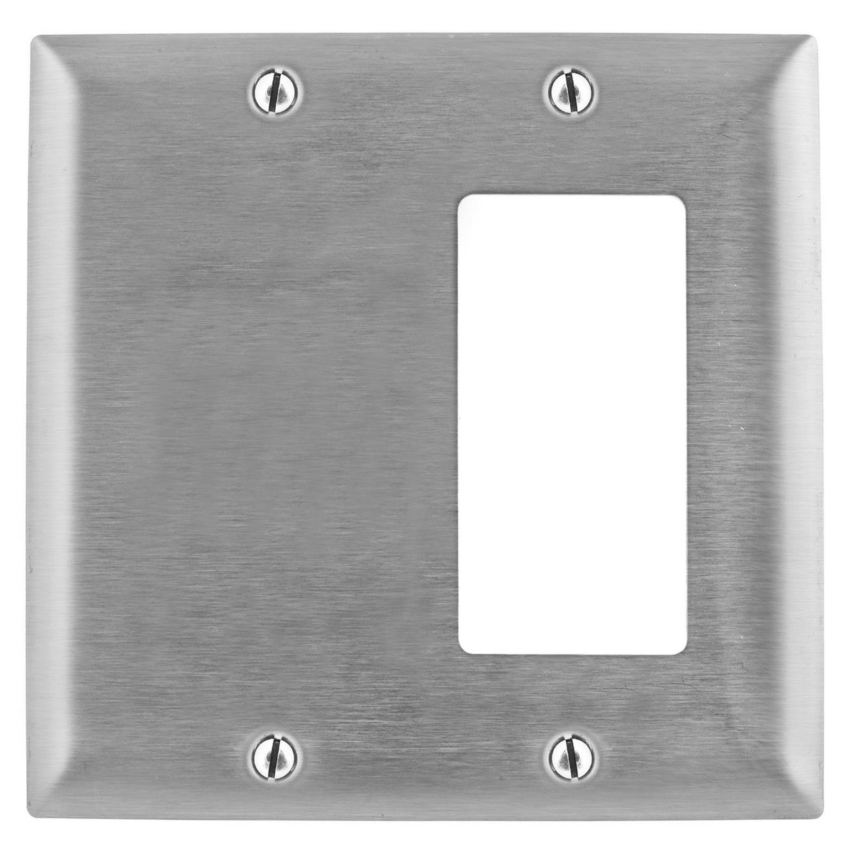 Hubbell SS1426 2-Gang Stainless Steel 1-Decorator Switch 1-Blank Strap Mount Combination Wallplate