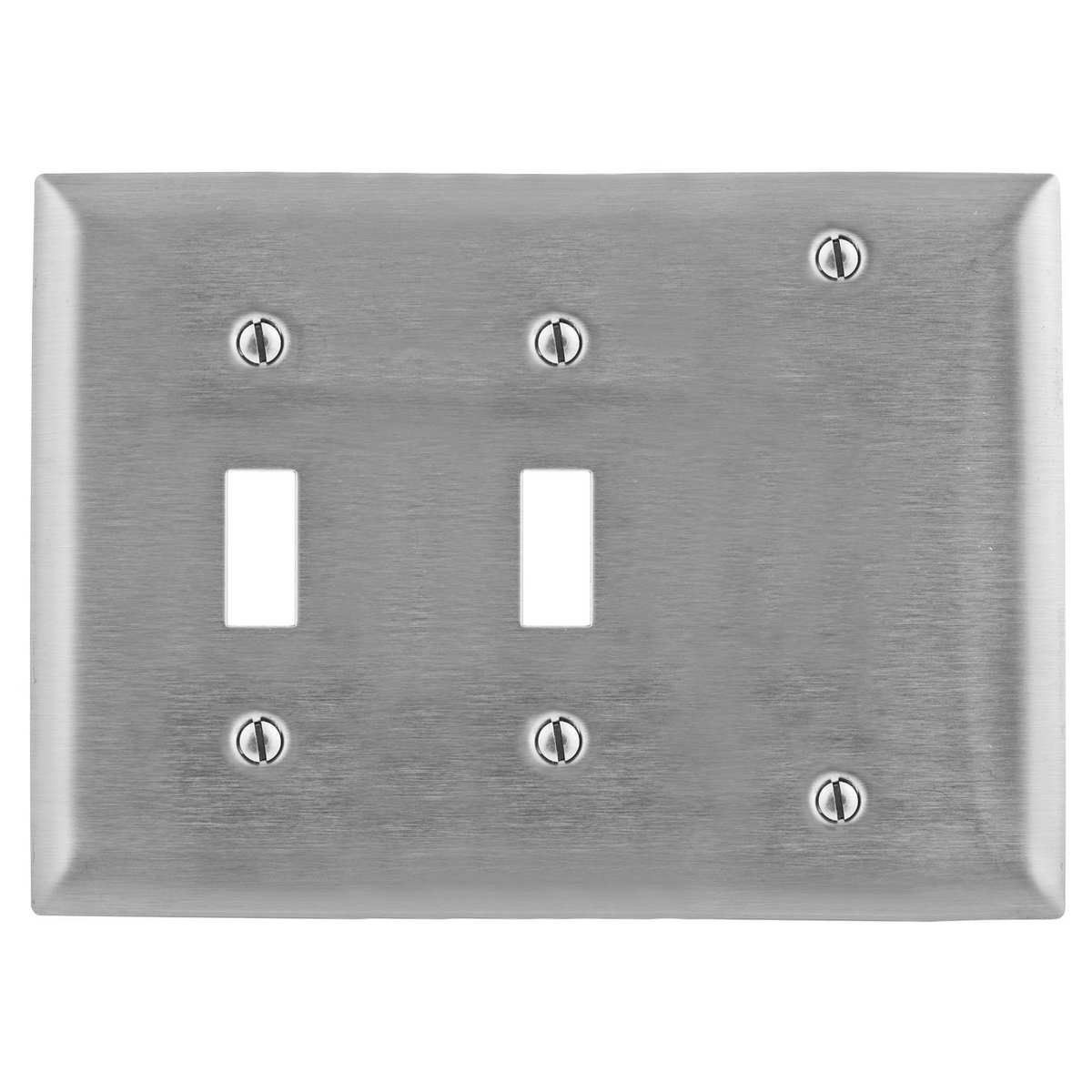Hubbell SS213 3-Gang Stainless Steel 1-Blank 2-Toggle Switch Screw Mount Combination Wallplate