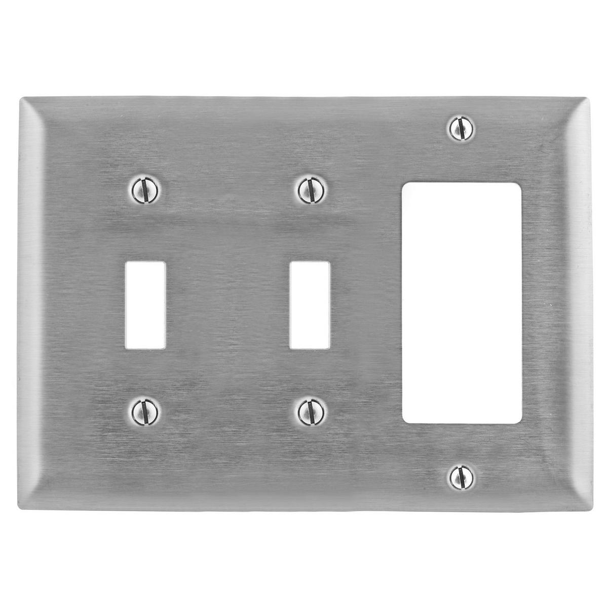 Hubbell SS226 3-Gang Stainless Steel 2-Toggle 1-Decorator Switch Screw Mount Combination Wallplate
