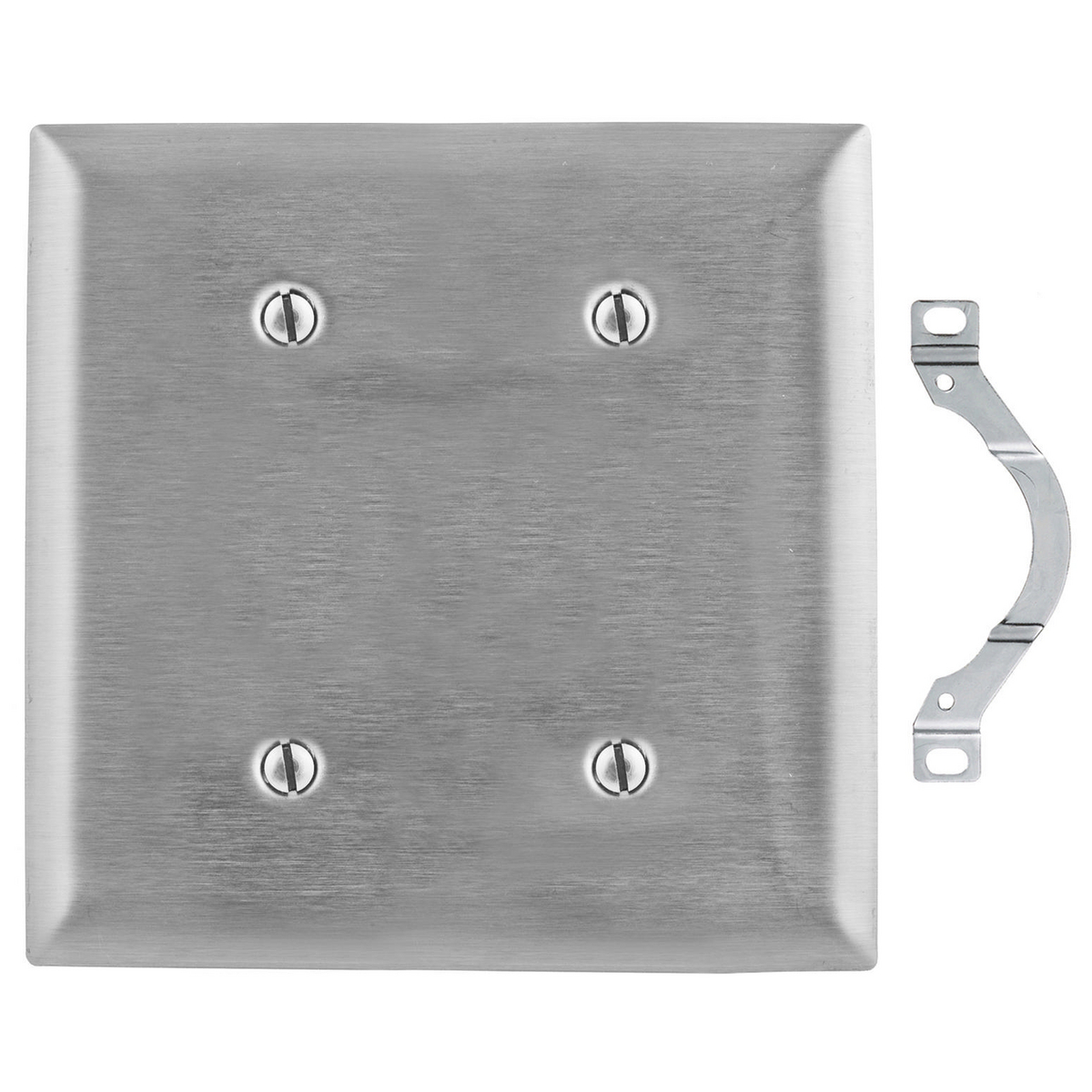 Hubbell SS24 2-Gang Stainless Steel 2-Blank Strap Mount Wallplate