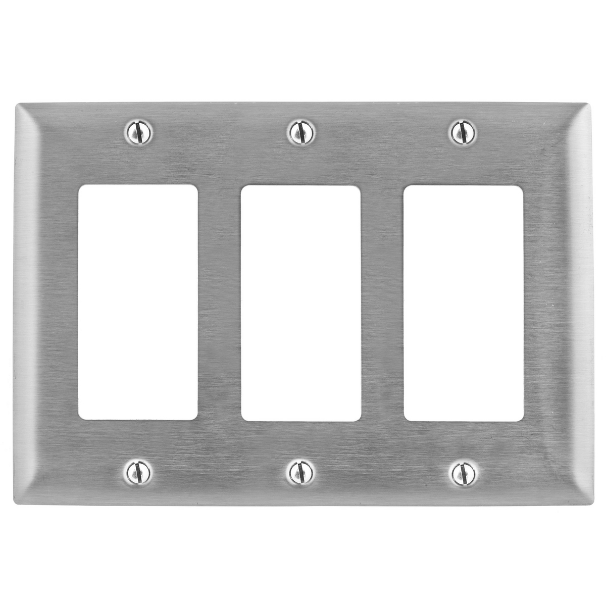 Hubbell SS263 3-Gang Stainless Steel 3-Decorator Switch Screw Mount Wallplate