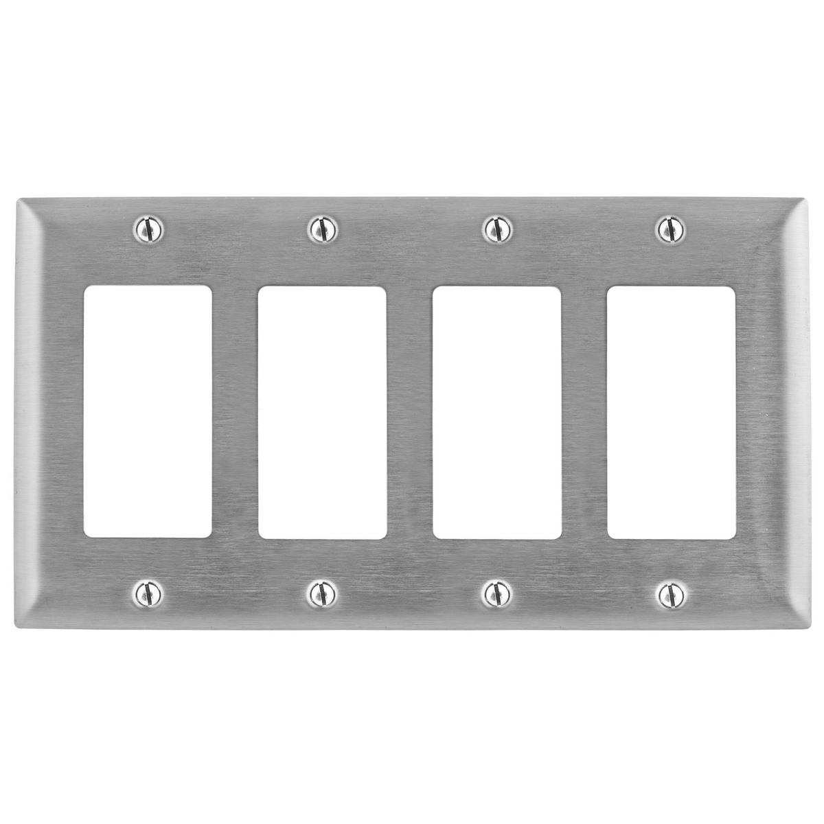 Hubbell SS264 4-Gang Stainless Steel 4-Decorator Switch Screw Mount Wallplate