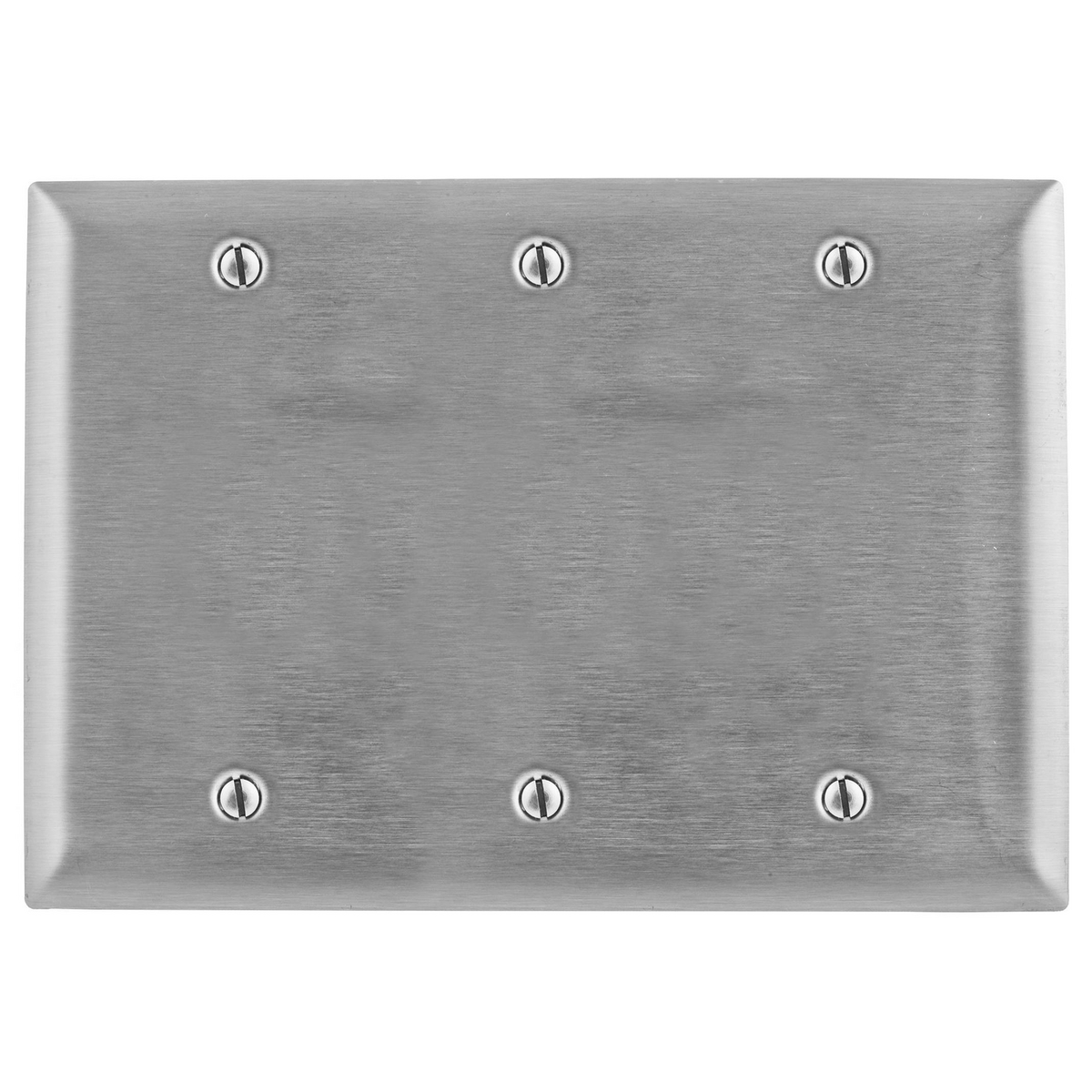 Hubbell SS33 3-Gang Stainless Steel 3-Blank Box Mount Wallplate