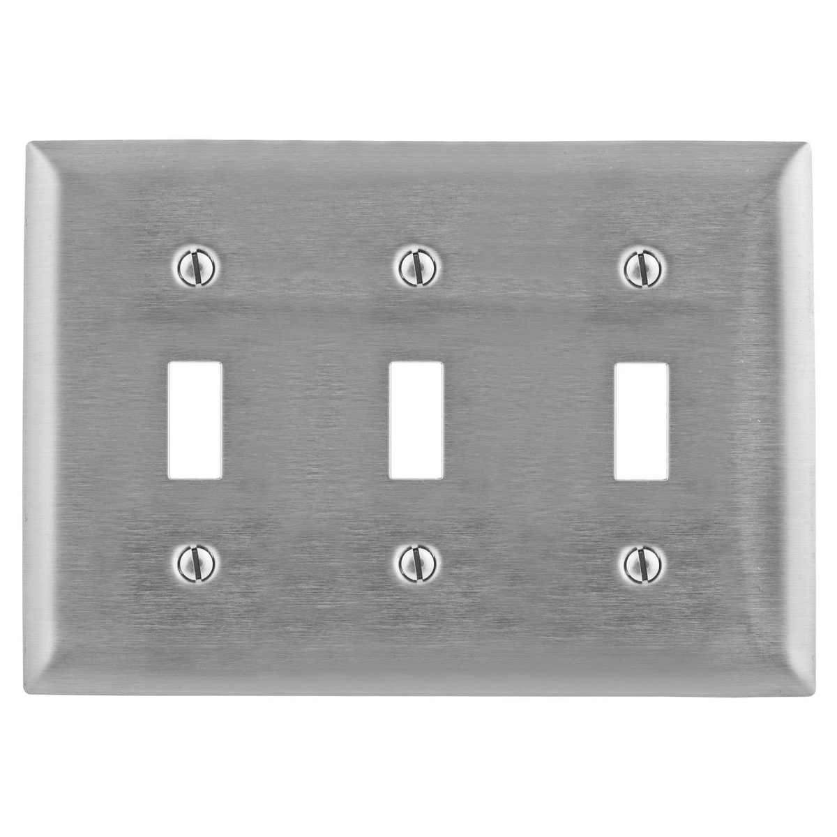 Hubbell SS3 3-Gang Stainless Steel 3-Toggle Switch Strap Mount Wallplate