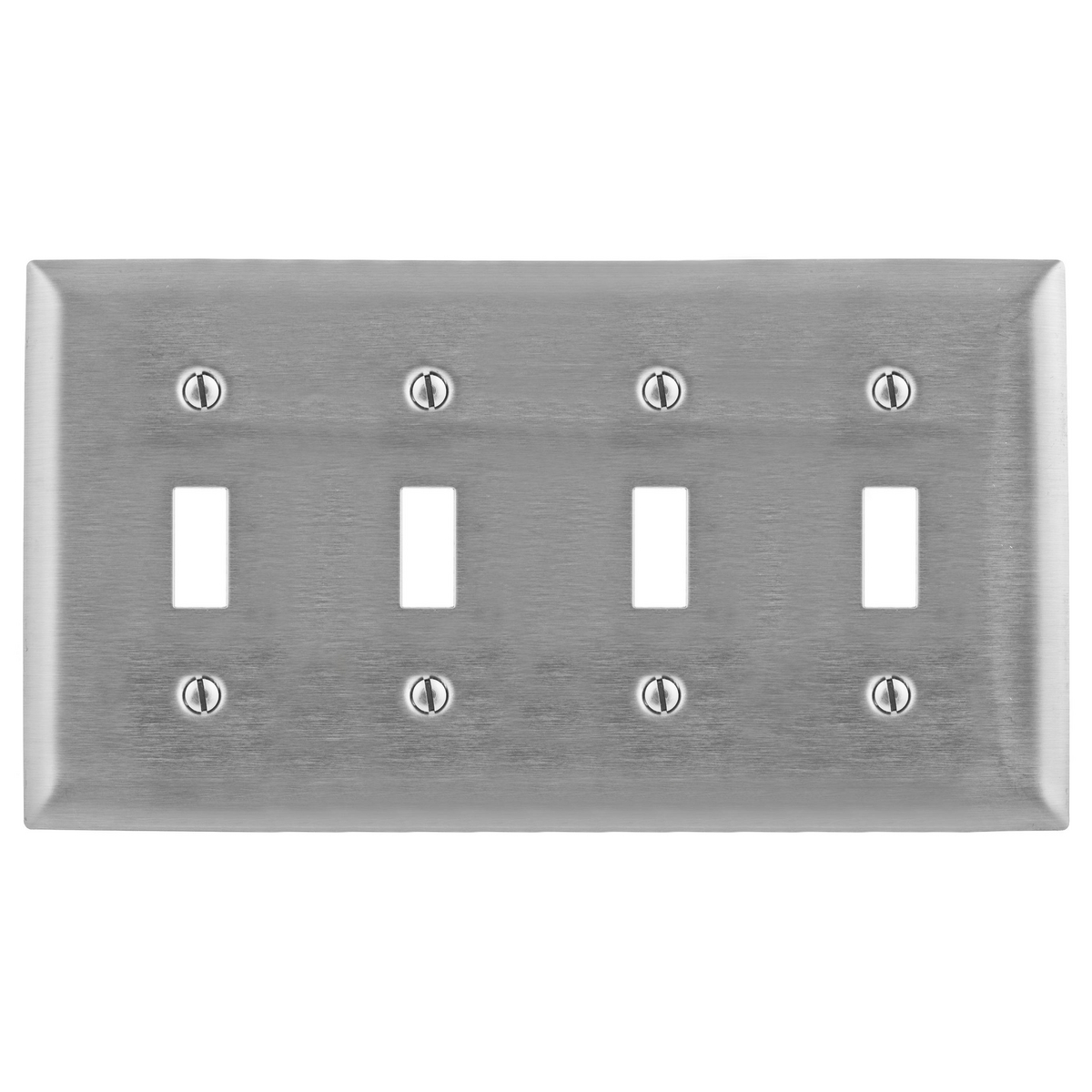 Hubbell SS4 4-Gang Stainless Steel 4-Toggle Switch Strap Mount Wallplate
