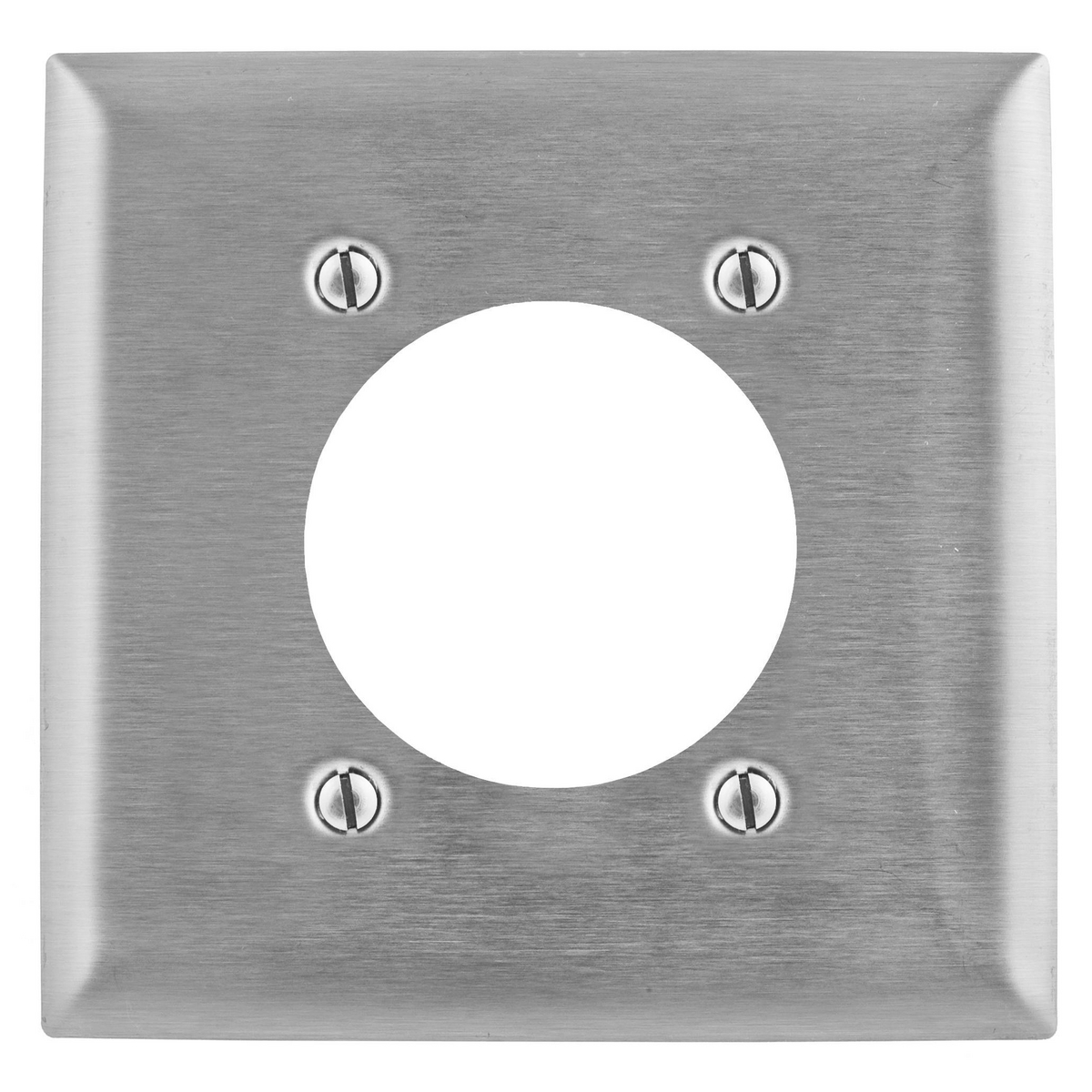 """Hubbell Wiring Systems Stainless Steel 1-Single Receptacle Wall Plate 3"""" Opening"""