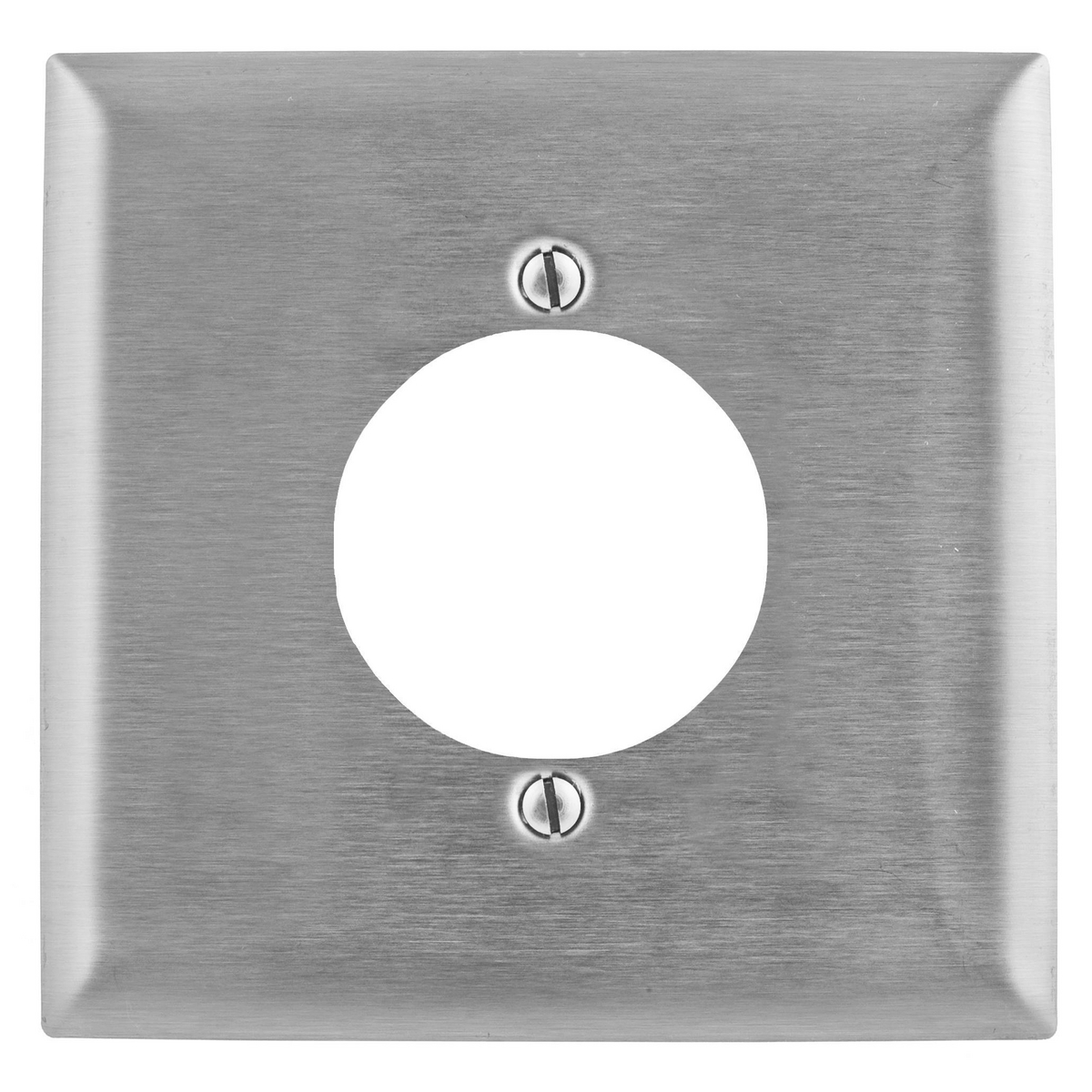 Hubbell SS702 2-Gang Stainless Steel 1-Single Receptacle Strap Mount Wallplate