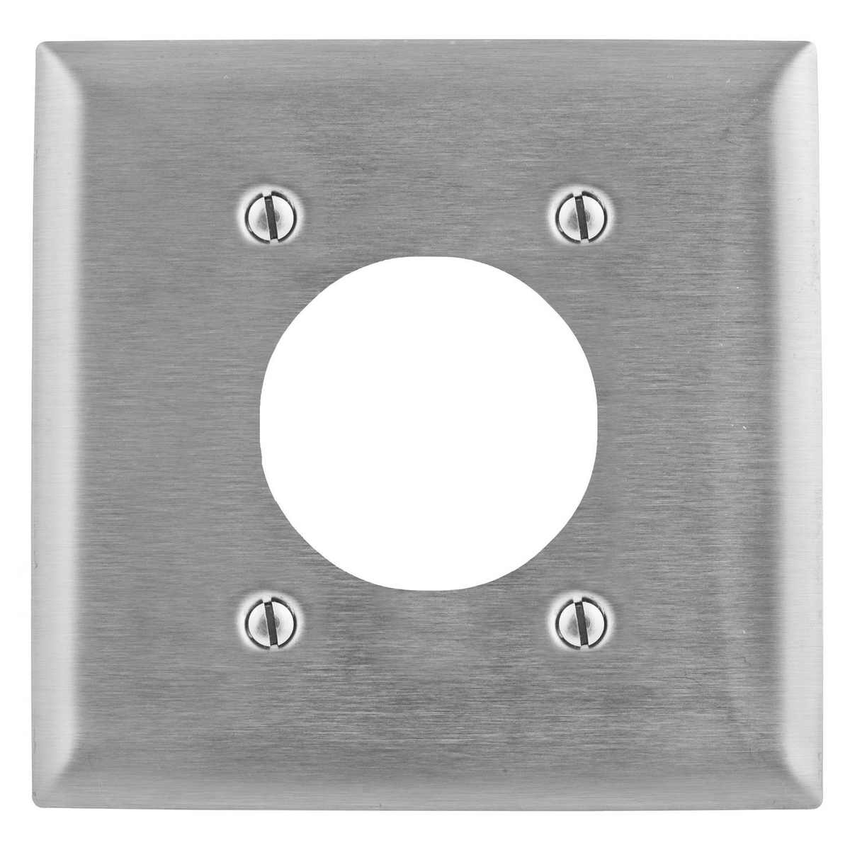 Hubbell SS703 2-Gang Stainless Steel 1-Single Receptacle Strap Mount Wallplate