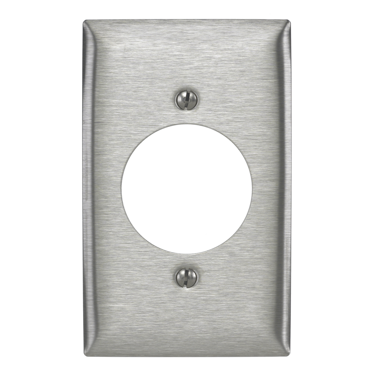 Hubbell SS725 1-Gang Stainless Steel 1-Single Receptacle Strap Mount Wallplate