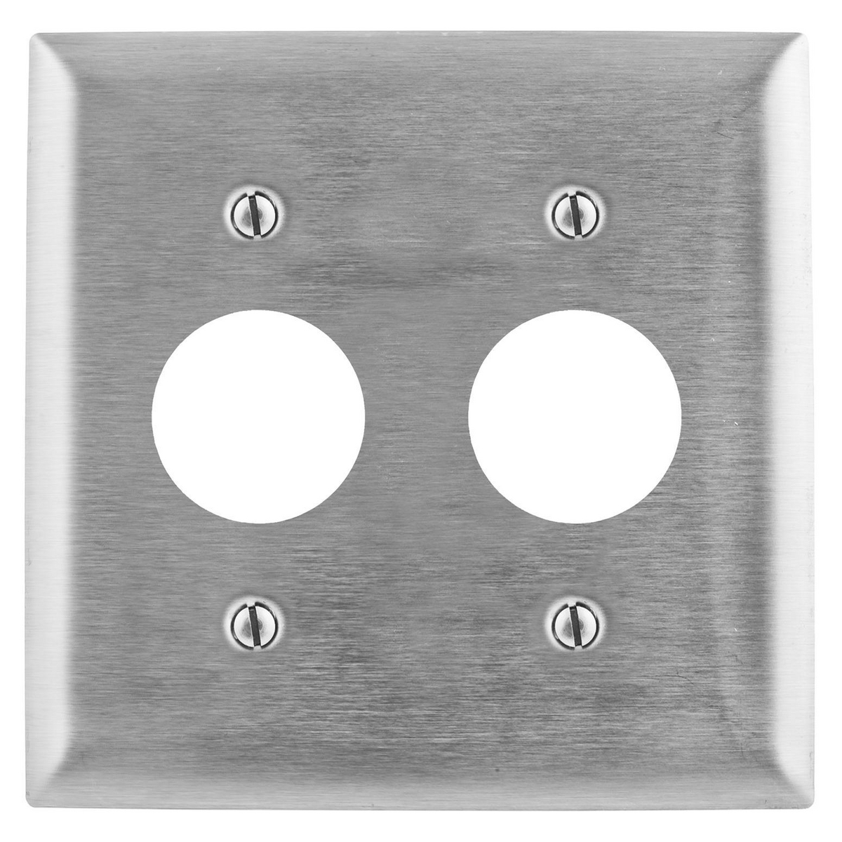 Hubbell SS72 2-Gang Stainless Steel 2-Single Receptacle Strap Mount Wallplate