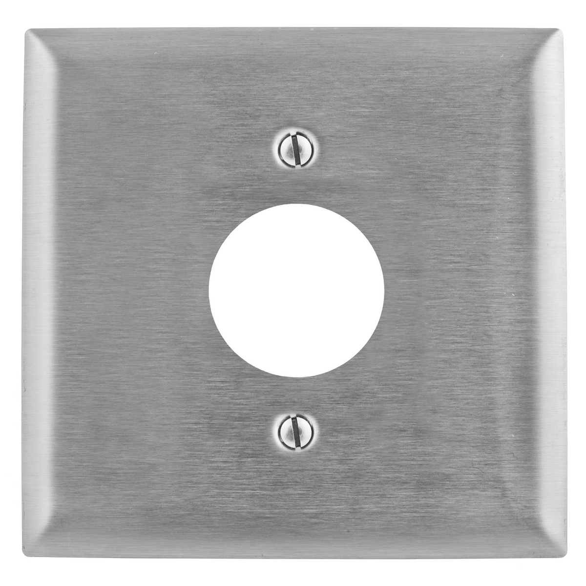 Hubbell SS749 1-Gang Stainless Steel 1-Single Receptacle Strap Mount Wallplate
