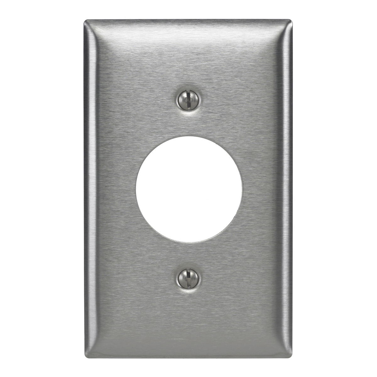 Hubbell SS7L 1-Gang Stainless Steel 1-Single Receptacle Screw Mount Wallplate