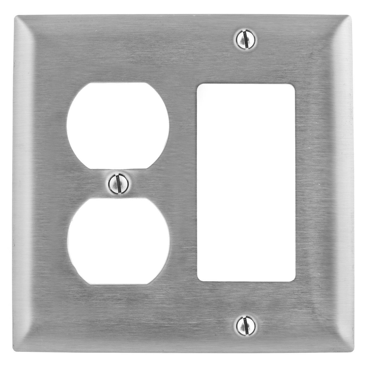 Hubbell SS826 2-Gang Stainless Steel 1-Decorator Switch 1-Duplex Receptacle Screw Mount Combination Wallplate