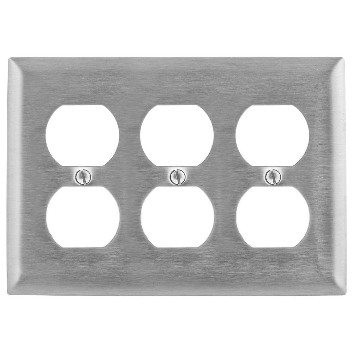 Hubbell SS83 3-Gang Stainless Steel 3-Duplex Receptacle Strap Mount Wallplate