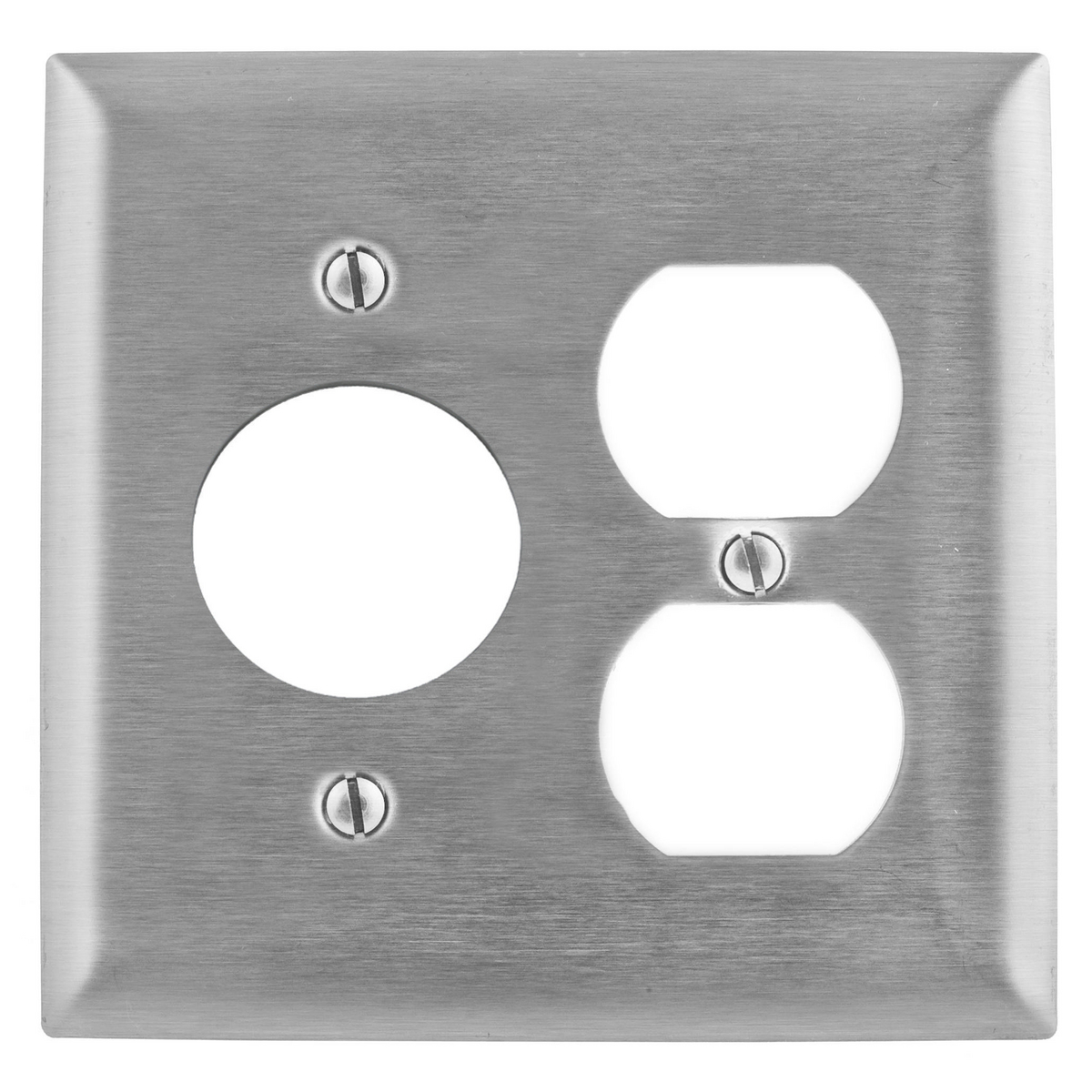 Hubbell SS8720 2-Gang Stainless Steel 1-Duplex 1-Single Receptacle Screw Mount Combination Wallplate