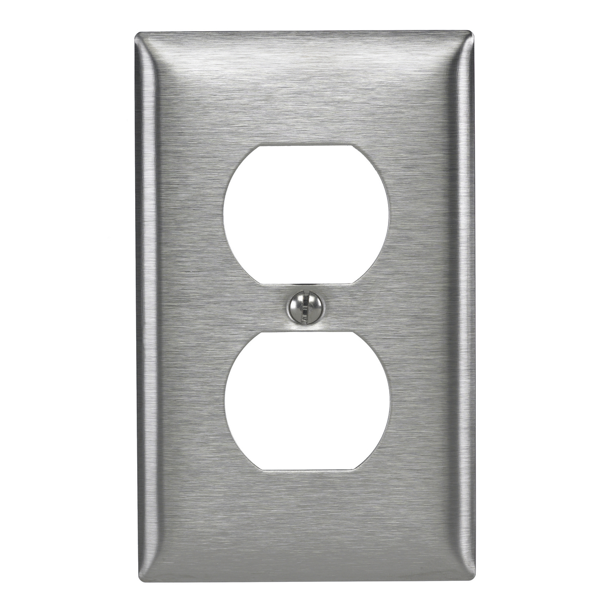 Hubbell SS8L 1-Gang Stainless Steel 1-Duplex Receptacle Strap Mount Wallplate