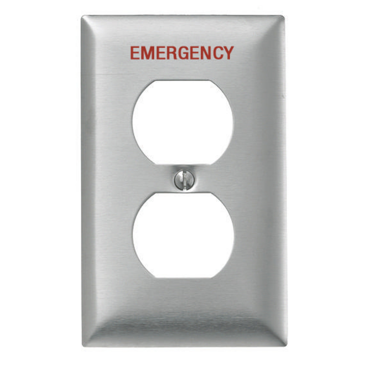Hubbell SS8MEV 1-Gang Stainless Steel 1-Duplex Receptacle Emergency Pre-Marked Wallplate