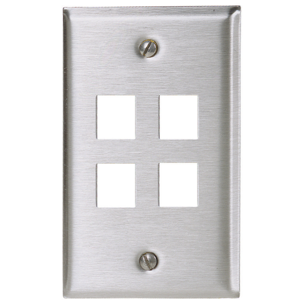 Hubbell SSF14 1-Gang Stainless Steel 4-Port Data Communication Face Plate