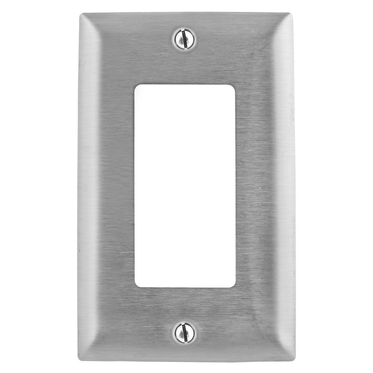 Hubbell SSJ26 1-Gang Stainless Steel Jumbo 1-Decorator Switch Strap Mount Wallplate