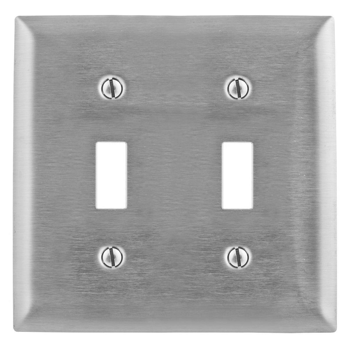 Hubbell SSJ2 2-Gang Stainless Steel Jumbo 2-Toggle Switch Strap Mount Wallplate