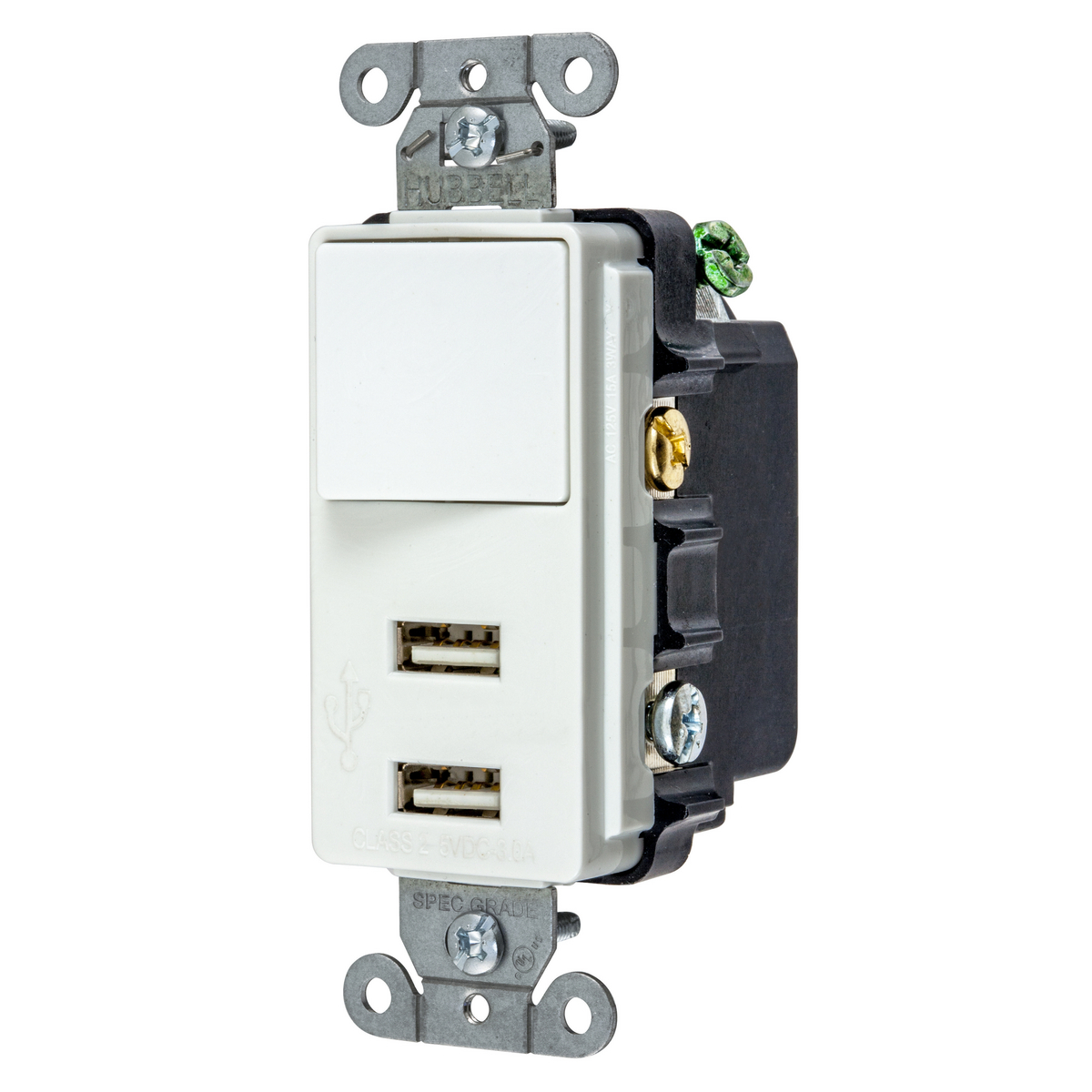 Hubbell Wiring United Electric 3 Way Key Switch Hubusb102w Usb Chrgr Sp3w 21a 5v Two Portwhite Usb102w