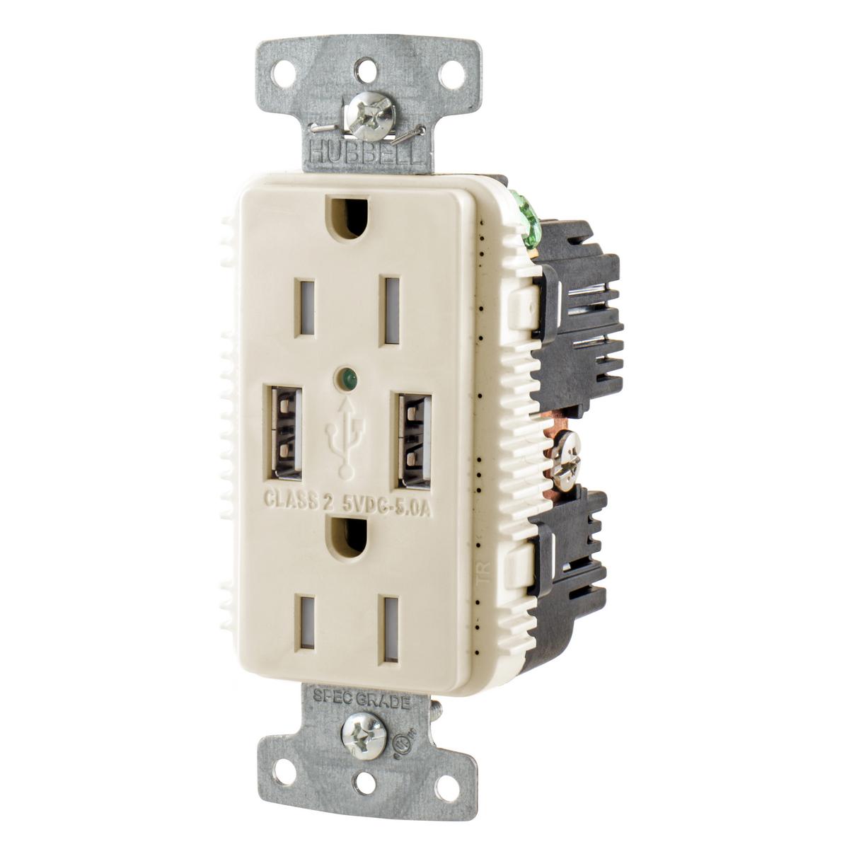 Hubbell USB15A5LA Receptacle DUP 15A 125V 5A 5V USB PORT A LA