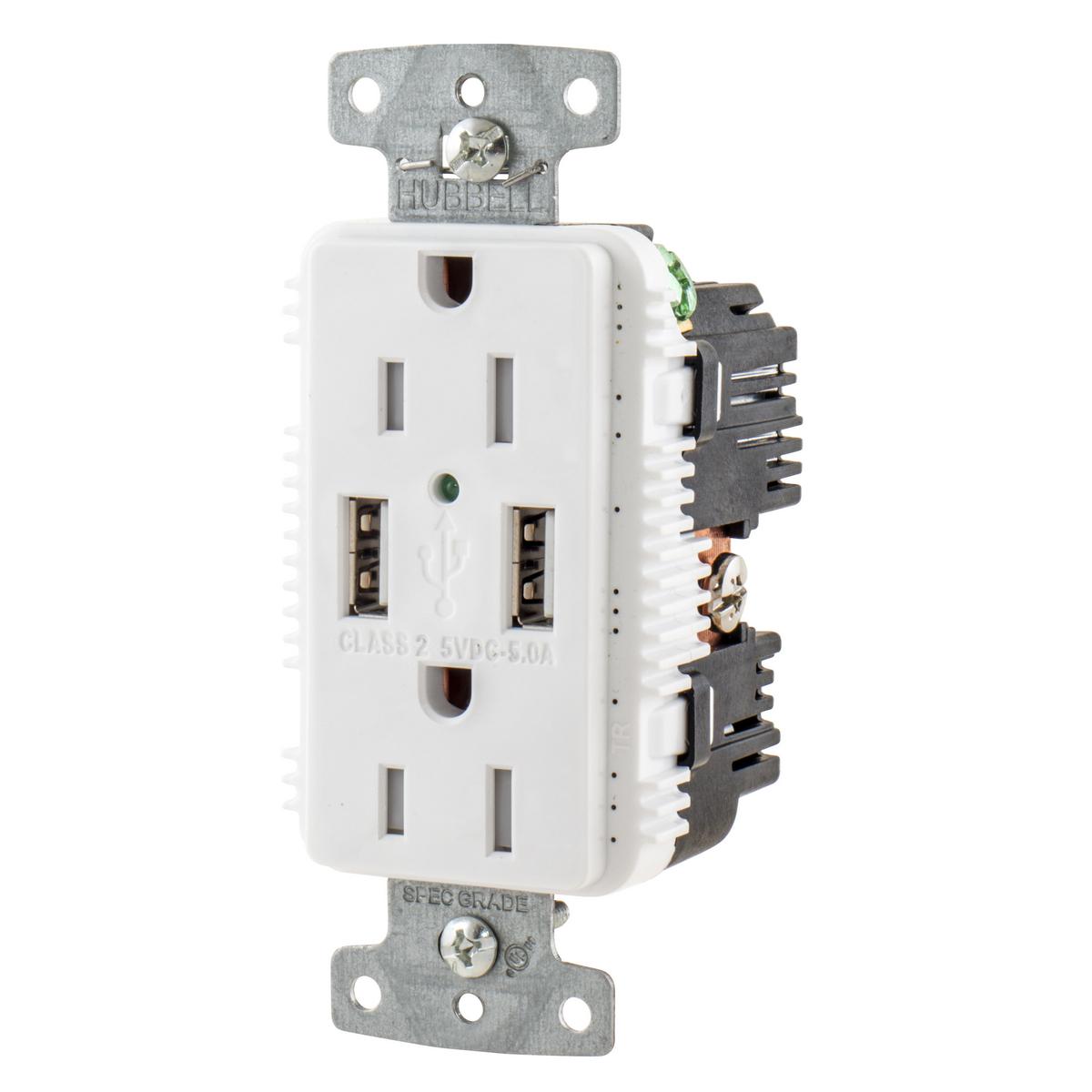 Hubbell USB15A5W Receptacle DUP 15A 125V 5A 5V USB PORT A WH