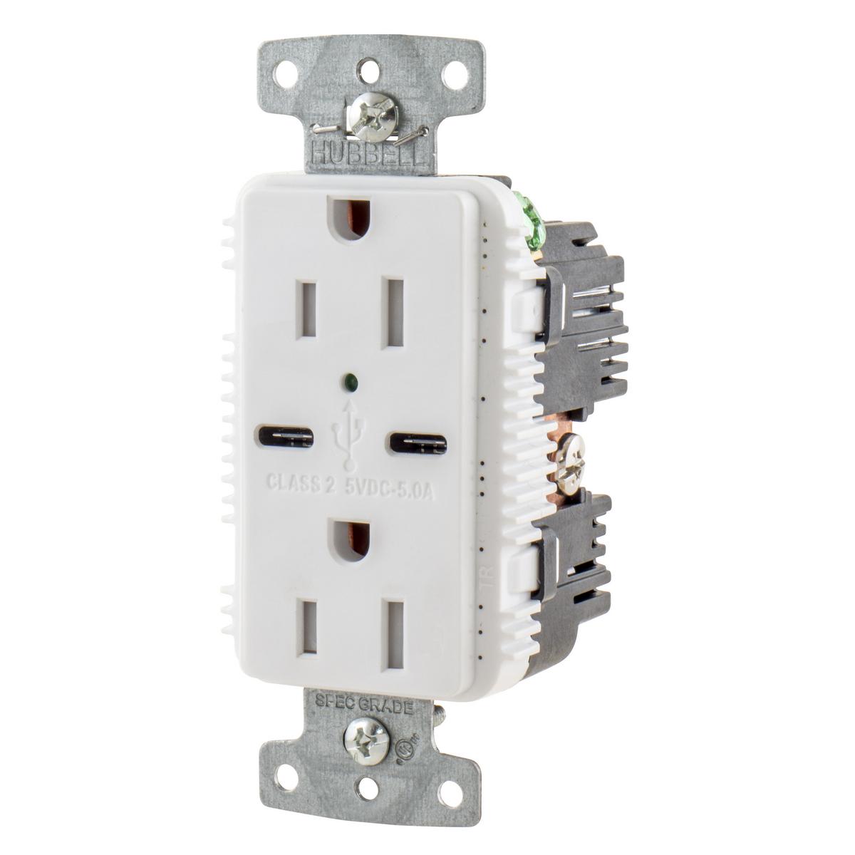 Hubbell USB15C5W Receptacle DUP 15A 125V 5A 5V USB PORT C WH