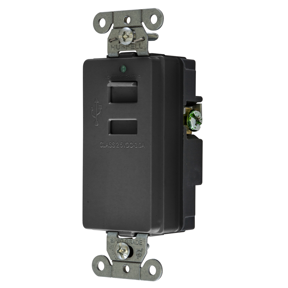 Hubbell USB2BK USB CHRGR 2 PORT 3A 5 V BLACK
