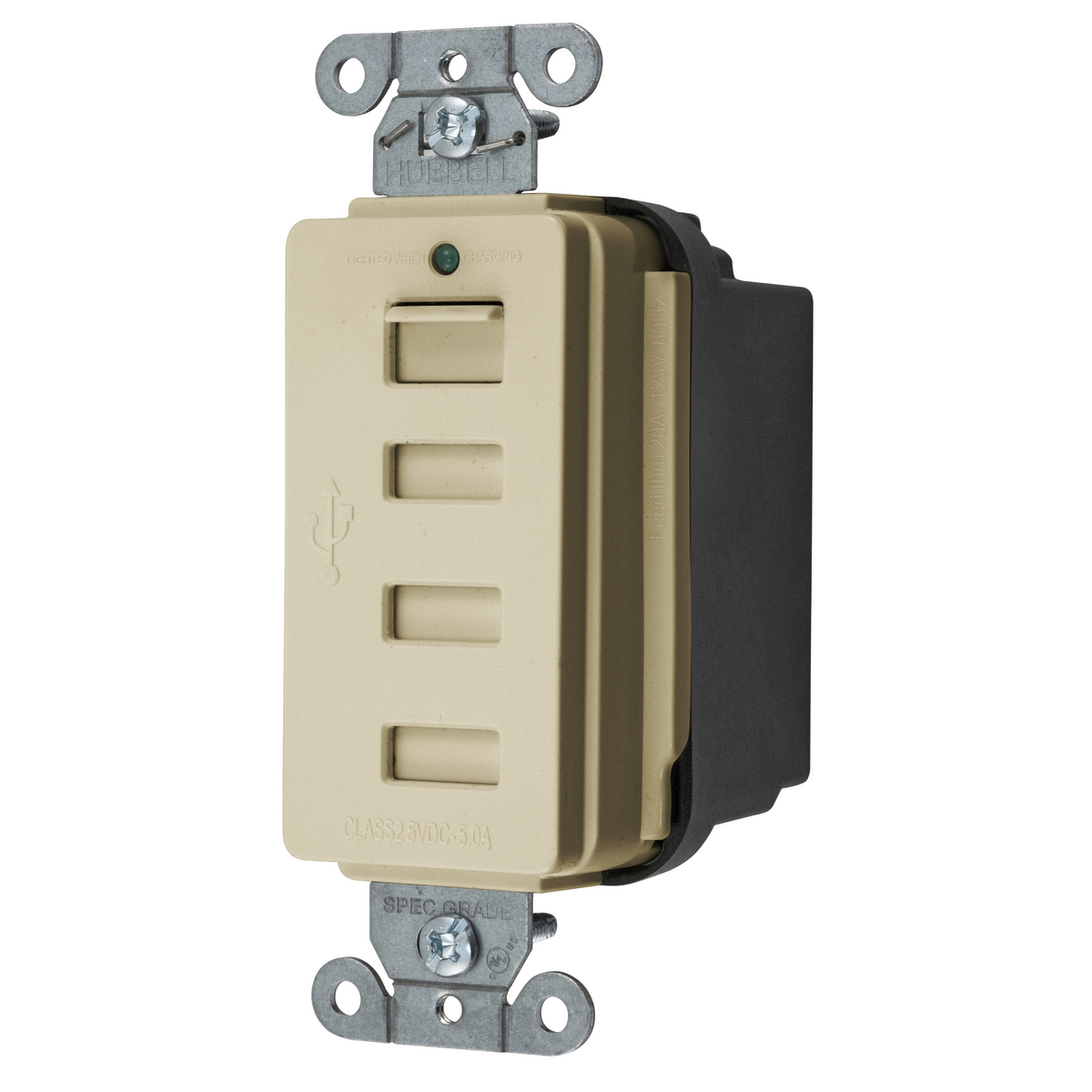Hubbell USB4I Class 2.0 4-Port 5 Amp 5 VDC Ivory USB Charger
