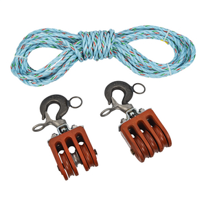 """Double and Triple Blocks with 150' of ½"""", 3-str. Polypropylene Rope"""