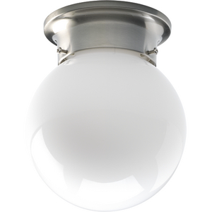 One-Light Small Glass Globe Close-to-Ceiling