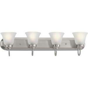 Four-light bath bracket featuring etched glass shades