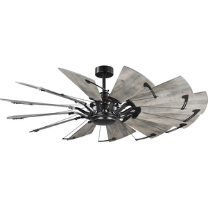Springer Collection 60-Inch 12-Blade Matte Black DC Motor Farmhouse Windmill Ceiling Fan