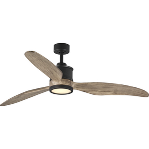 """Farris Collection Three-Blade Carved Wood 60"""" Ceiling Fan"""