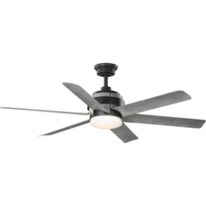 Kaysville Collection 6-Blade Grey Weathered Wood 56-Inch DC Motor LED Urban Industrial Ceiling Fan