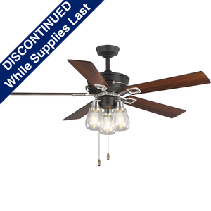 "Teasley Collection 56"" Five-Blade Ceiling Fan With Glass Shades"