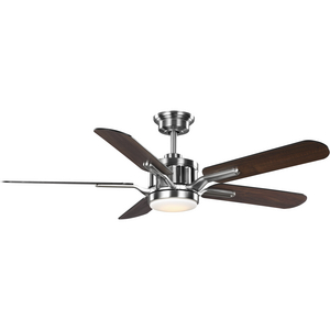 Claret Collection 5-Blade Reversible Matte Black/American Walnut 56-Inch DC Motor Ceiling Fan