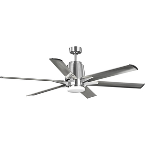 "Arlo Collection 60"" Indoor/Outdoor Six-Blade Brushed Nickel Ceiling Fan"