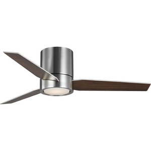 "Braden Collection 44"" 3-Blade Brushed Nickel LED Mid-Century Modern Indoor Hugger Ceiling Fan"