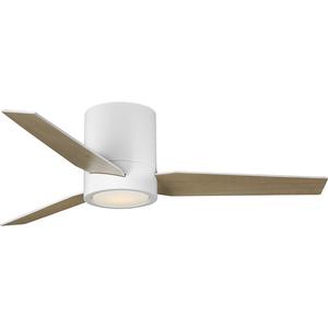 "Braden Collection 44"" 3-Blade Matte White LED Mid-Century Modern Indoor Hugger Ceiling Fan"