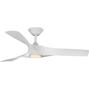 """Ryne Collection 52"""" 3-Blade Matte White LED Transitional Indoor/Outdoor DC Ceiling Fan"""