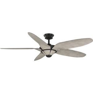 "Mesilla Collection 60"" Five-Blade Antique Wood/Antique Bronze Indoor/Outdoor DC Motor Urban Industrial Ceiling Fan"