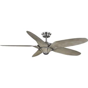 "Mesilla Collection 60"" Five-Blade White Barnwood/Antique Nickel Indoor/Outdoor DC Motor Urban Industrial Ceiling Fan"
